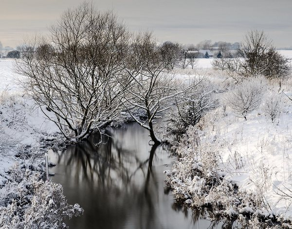 ND-filter 10 stop, long exposure photography. Winter landscape from Denmark.