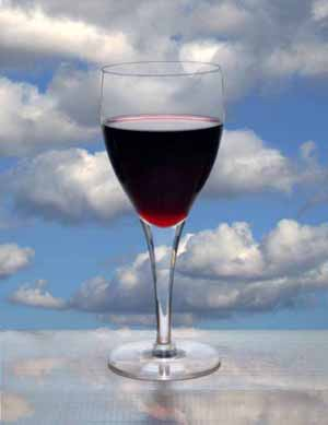 Trick photography - Glass of red wine