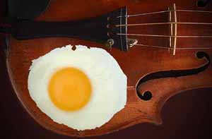Surreal photography - Fried egg on violin